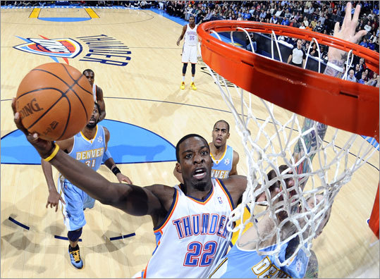 The Celtics acquired Jeff Green of the Oklahoma City Thunder, a forward in his fourth season in the NBA. He has career averages of 34.5 minutes a game, 14.2 points and 5.8 rebounds. he's played in all 49 games for the Thunder this season, and played in and started all 82 games last season.