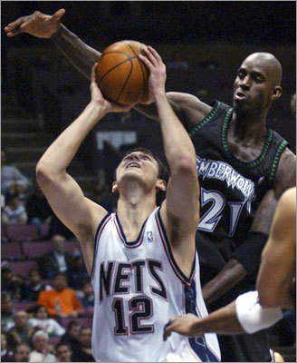 Krstic entered the league in 2004-05 with the New Jersey Nets, who drafted him with the 24th pick of the first round. He played on the Serbian Olympic team in the 2004 games in Greece and the Serbian national team for EuroBasket 2009 in Poland. This photo, taken at a Nets-Timberwolves game in 2005, matched future teammates against each other. Recognize that guy defending him?