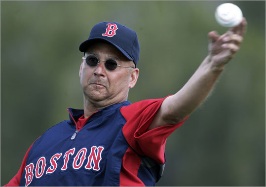 Manager Terry Francona pitched for a portion of batting practice Thursday morning.