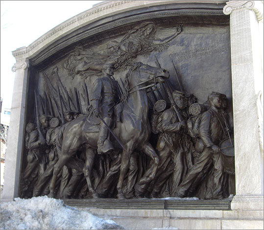 This monument, across Beacon Street from the State House, pays tribute to the 54th Regiment of Massachusetts Volunteer Infantry, the first black regiment recruited in the North. The names of 62 soldiers who died during an assault on Charleston, South Carolina are inscribed on the monument. Augustus Saint-Gaudens made the bronze memorial, which was created with funds raised by Joshua B. Smith, a former slave and a state representative from Cambridge. According to the Museum of African-American history, Booker T. Washington spoke at the dedication ceremony on May 31, 1897, and it is now the first stop on the Black Heritage Trail.