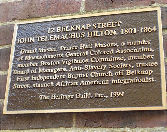 Joy Street, formerly Belknap Street, is dotted with plaques from The Heritage Guild, Inc. commemorating black Bostonians who lived on the street in the 1800s. They include John Telemachus Hilton, who lived at 12 Belknap Street, a 'staunch African American integrationist' and a founder of the Massachusetts General Colored Association, Rebecca Lee Crumpler (67 Joy Street), the first black woman to earn a medical degree. Maria W. Stewart, a black abolitionist, essayist, and lecturer, also lived on the street. Her speeches were said to be the first public speeches by an American woman on politics and women's rights.