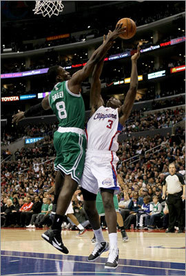 Forward Jeff Green (left) was the other player involved in the Celtics-Thunder deal. He saw his first action as a Celtic late in the first quarter, and netted his first point on a free throw with 27.4 seconds left in the first quarter. He also blocked a shot by Al-Farouq Aminu, and finished with seven points.
