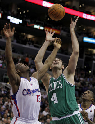 Newly acquired center Nenad Krstic not only started his first game for the Celtics, he scored the game's first basket, a layup that gave the Celtics a 2-0 lead vs. the Clippers in Los Angeles. Krstic was one of two players the Celtics received from the Oklahoma City Thunder in exchange for center Kendrick Perkins and guard Nate Robinson at the NBA's trading deadline. The Celtics won, 99-92, and Krstic finished with nine points and six rebounds.