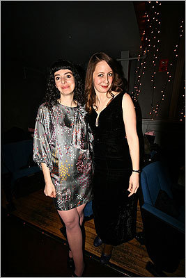 Cambridge's Brattle Theatre held their annual Oscar Night Party to raise money for the Brattle Film Foundation. Brattle members were invited to view the Awards Ceremony on the big screen and discuss their favorite Oscar contenders. At left, Karen Signorelli and Megan Dickerson are dressed up for the Oscars.