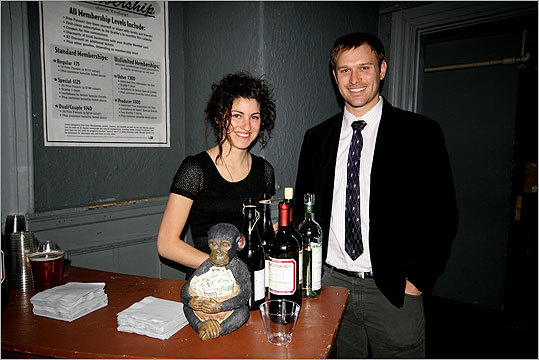 Sara Meyers, the bartender, posed with Kevin Fagan.