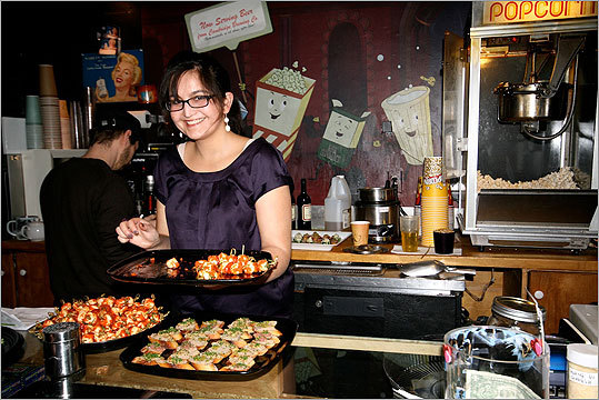Pardis Saffari enjoyed food at the concession counter.