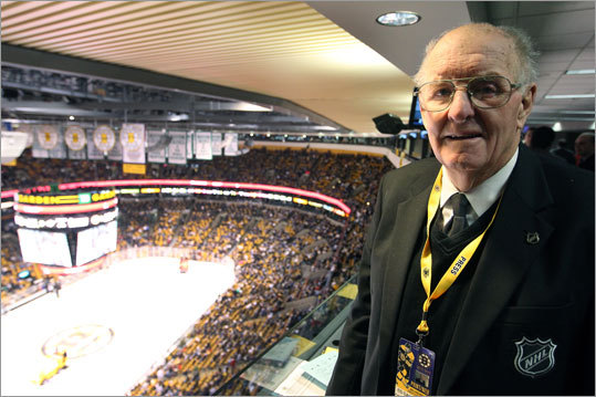 Eddie Sandford, 82, who was the Bruins captain in 1955, has been an off-ice presence for 50 years. He has served as a Boston goal judge (in the 1960s and '70s), official scorer, and supervisor of off-ice officials. He is currently a Bruins statistician.