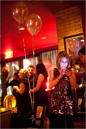 One of the event organizers Elizabeth Stefan checked the Charles Hotel's Twitter feed announcing the red carpet Oscar viewing party at Noir. Stefan said her dress was a New Year's Eve purchase that didn't work for the occasion. 'I couldn't return it and I needed an excuse to wear it,' Stefan said.