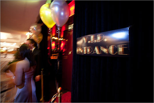The 'VIP entrance' at the red carpet Oscars viewing party at Noir.