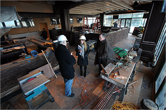 A peek inside the under-construction Jerry Remy's sports bar.
