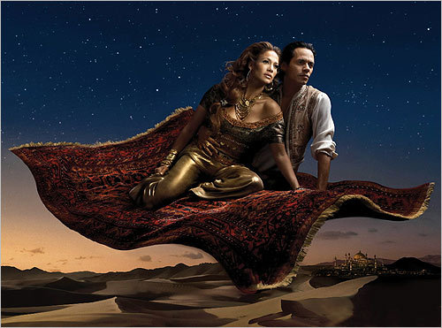 In this portrait unveiled in 2008, singers Jennifer Lopez, portrayed as Jasmine, and husband Marc Anthony, as Aladdin, from Disney's 'Aladdin.'