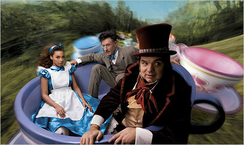 In this photo released in 2007, from left, Beyonce Knowles, Lyle Lovett and Oliver Platt posed in a scene from 'Alice in Wonderland.'