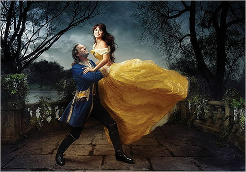 From left, Jeff Bridges and Penelope Cruz appeared as Disney characters Belle and the transformed prince from 'Beauty and the Beast.'