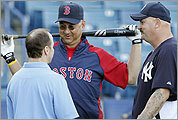 Yankees GM Brian Cashman (left), Sox manager Terry Francona, and David Wells