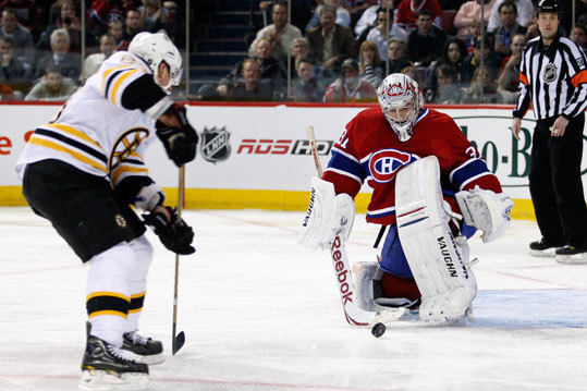 Canadiens goalie Carey Price stopped Brad Marchand's penalty shot in the third period.