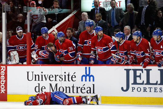 Chara was tossed from the game following the hit. Canadiens coach Jacques Martin thought it was a dirty play by Chara. 'The league has to respond,' Martin said. However, the NHL decided there was no need for supplementary discipline.