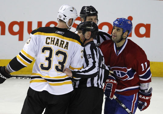 The Canadiens' Scott Gomez was kept away from Chara after the incident.