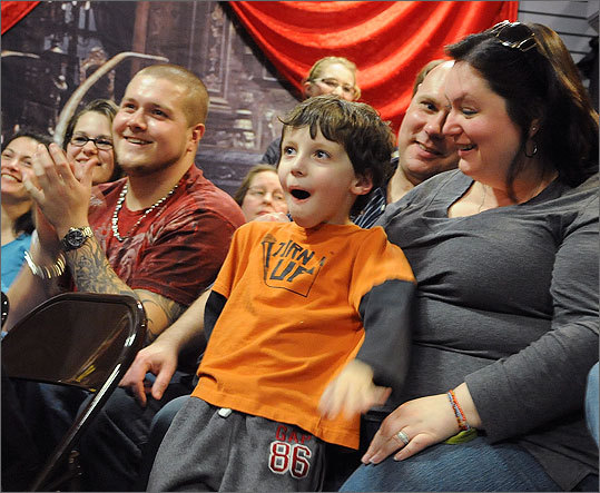 While Lydia's isn't quite going for the pure gross-out, the exploitative or the bawdy – it's family-oriented, host Tony Gangi stresses – it is a tribute and a throwback, embodying the original sideshow's campy exhibitionism. Left: Aidan LaSusa, of Levittown, N.Y., center, sitting with his mother Kim LaSusa, right, reacts as Gangi performs.