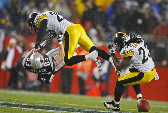 Wes Welker The Patriots receiver was leveled by a crushing hit by the Steelers' Ryan Clark in 2008. Welker left the game and did not return, and Clark was flagged for unnecessary roughness.