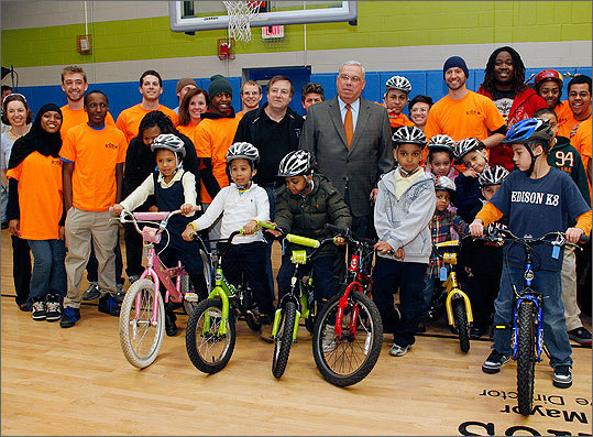 'These are your bikes,' said Mayor Thomas M. Menino to the children at the ceremony. 'But there's only one rule we have -- you must wear your helmet.'