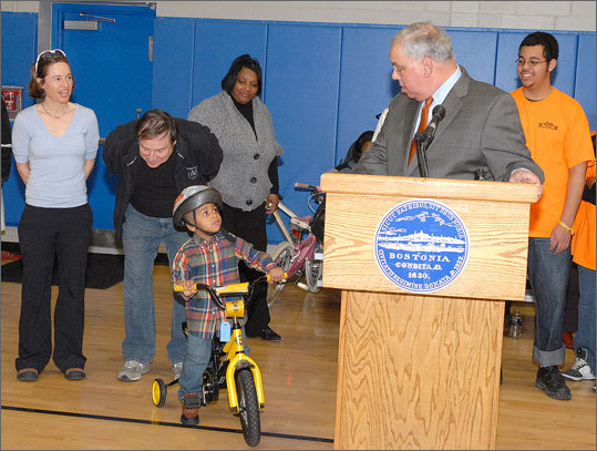 With a green light from Menino, a young resident tested out his new ride. To see a video from last week's donation, click here .