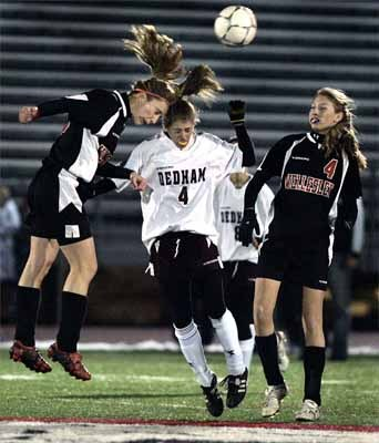 With back-to-back wins, forward Sydney Stoll represented Dedham on the Girl's All-Scholastics soccer teams in 2005 and 2006.