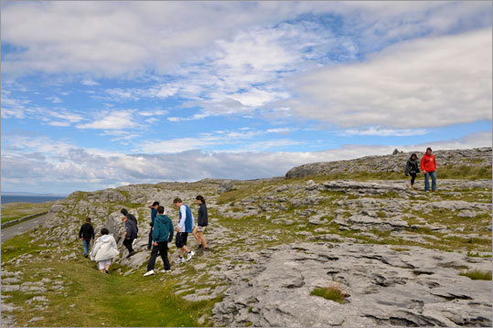 Walking in the Burren requires constant awareness so as not to stumble on the uneven stone.