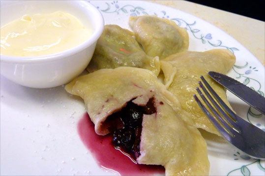 Cracovia Restaurant's blueberry pierogi with sour cream make an excellent Polish dessert. Read: Renewed business district tightens a community's ties