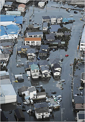 Streets were flooded after the earthquake in Oarai City, Ibaragi prefecture, Japan.