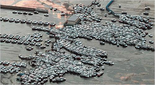 Vehicles were carried away by a tsunami at Hitachinaka, Ibaraki prefecture, Japan.