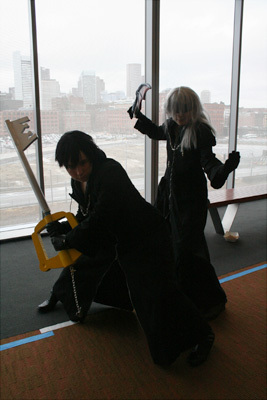 Meghan Dowd, 23, and Miranda Dobbs, 23, are both huge fans of the 'Kingdom Hearts' video game series and of costume play ('cosplay' for short) in general. Dowd said she is a costume maker and got Dobbs into the series. Here they are dressed up as Xion and Riku, respectively, who are members of Organization XIII in the story.