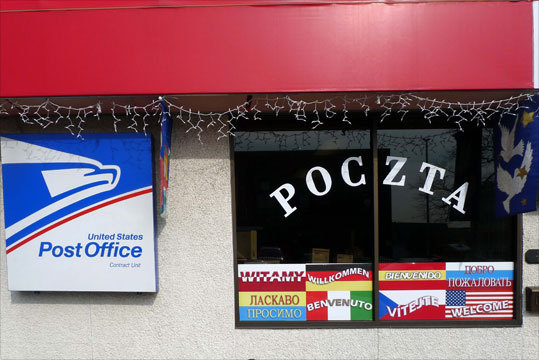 The U.S. Post Office inside Polmart in New Britain uses Polish as its first language. Read: Renewed business district tightens a community's ties