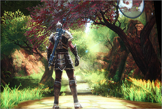 Here is an image from Kingdoms of Amalur, which is a fantasy role-playing game in which the player controls a custom-made character with special abilities that help him survive in a dangerous fantasy universe. To stand out from dozens of similar games, Schilling said, the game will deliver a superior playing experience. 'We want to be the best in the world at what we do,' he said, 'so you set the bar high and it stays that high forever.'