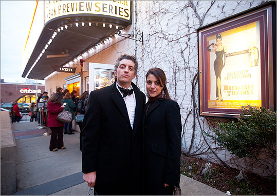 Dressed for the occasion, Joe DeAngelis and Shiva Kashanipour, both of Boston, posed for a photo outside the theater. When asked about the tuxedo DeAngelis said, 'It's Breakfast at Tiffany's — it's Audrey,' explaining that nothing else needed to be said.