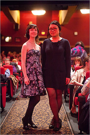 From left, Hannah Cummins of Brookline and Cindy Nguyen of Seattle showed off their takes on Audrey Hepburn outfits.