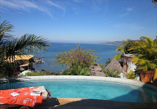 The view of Sayulita Bay from Villa Las Flores. Read: Surfer girls