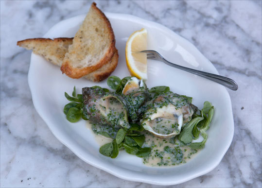 Maine whelks with Maine shrimp butter at Marlow & Sons. Read: The new guard in the kitchens across the river
