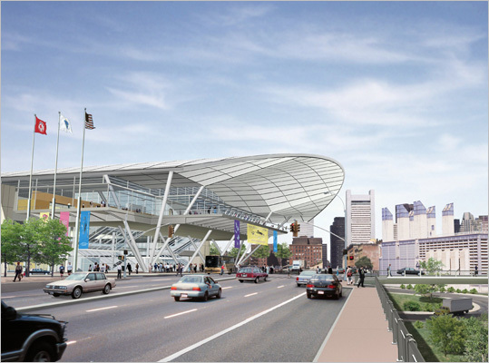 The convention center was constructed in part because of this move by Apple. Boston was able to reclaim the convention in 2002 for the 2004 show. Pictured: an architectural rendering of the convention center.