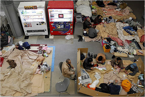 Evacuees rested in a shelter, 37 miles from the nuclear power plant in Fukushima prefecture, in Koriyama, Japan, on Friday.
