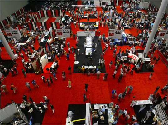 Macworld, pictured here, was the convention center's first large-scale event in 2004. However, Apple had backed out of the expo due to its move from New York. The convention was moved the next year to its last showing at Hynes Convention Center.