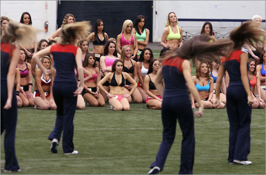 Cheerleader hopefuls were required to be at least 18 years old and have a high school diploma or GED. They were judged on two designated routines and a freestyle combination. In this segment, the candidates watched as the Patriots cheerleaders performed what organizers called a head-snapping routine.