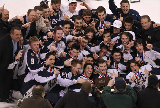The Malden Catholic boys' hockey team capped the Super 8 tournament with a 4-3 overtime victory over St. John's Prep Sunday night at TD Garden.