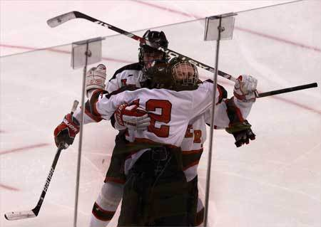 Marblehead's Hunter Graves celebrates with his teammates after his goal put Marblehead up, 6-3, in the third period.