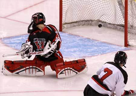 Marblehead's Hunter Graves (7) seals the victory over Westfield with this third-period goal.