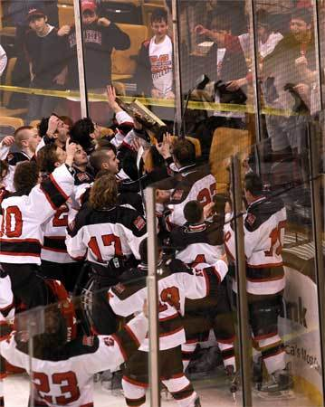 Marblehead players celebrate with their fans in the stands after claiming the boys' Division 3 state title.