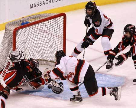 Marblehead's Jake Kulevich (14) top right, was in prime position to score on the rebound during the second period.