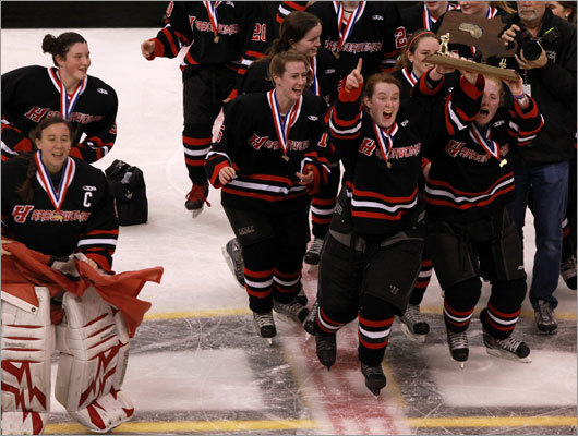 Division 1 girls hockey Hingham celebrated its state championship win over Acton-Boxboro for the Division 1 title. Hingham's Catherine Linehan slammed home two rebound goals to help Hingham to a 3-1 victory over Acton-Boxboro. Story: Hingham's the one