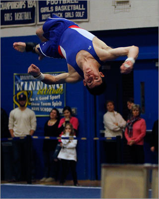 Gymnastics Braintree High's Kevin O'Halloran competes in the floor exercise during the MIAA Boys State Gymnastics Championships. Braintree won the boys state title while Algonquin won the girls title. Story: Braintree keeps title in its grip Story: Algonquin beaming after winning first state title in 17 years