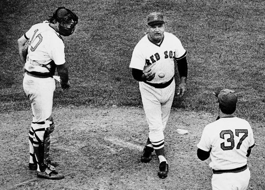 Don Zimmer Zimmer remains a proud baseball lifer who managed the Red Sox during a tumultuous era (1976-80), he often clashed with free-spirited players such as Bill Lee, Ferguson Jenkins, and Bernie Carbo. The talent-rich Red Sox never could win a division title in the loaded AL East, most notoriously losing a 14.5-game lead over the Yankees during the '78 season, eventually losing a one-game playoff. As a coach with the New York Yankees in 2003, Zimmer was involved in the ALCS Game 3 bench-clearing brawl at Fenway that was highlighted by Red Sox ace Pedro Martinez tossing the then 72 year old baseball icon to the ground after Zimmer took a run at him. Zimmer was sent to the hospital, was released, and apologized for his role in the incident the next day. While Zimmer was often a target of fans and talk radio during his time in Boston, he said during his Red Sox Hall of Fame induction in 2010 that Sox management never failed to treat him fairly.
