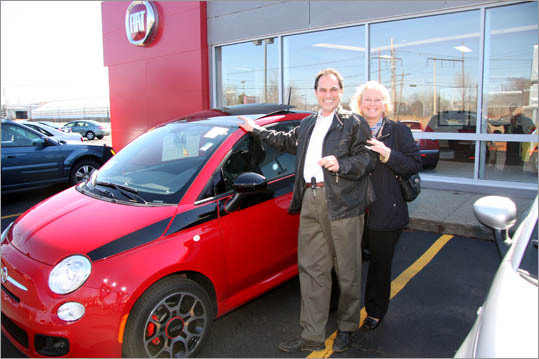 Angelo and Rhonda Falcone were among the first customers to pick up their new Fiat 500 'Prima Edizione,' a special-order trim reserved for Fiat aficionados, at the just-opened Kelly Fiat of Peabody.